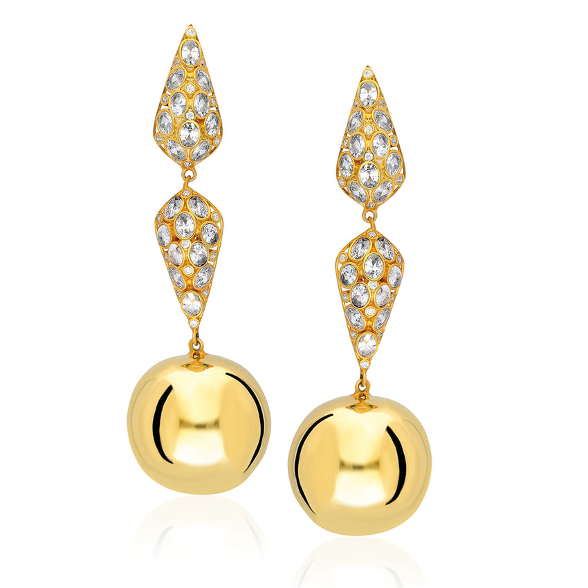 Statement sterling silver earnings with a hanging round ball in yellow gold.