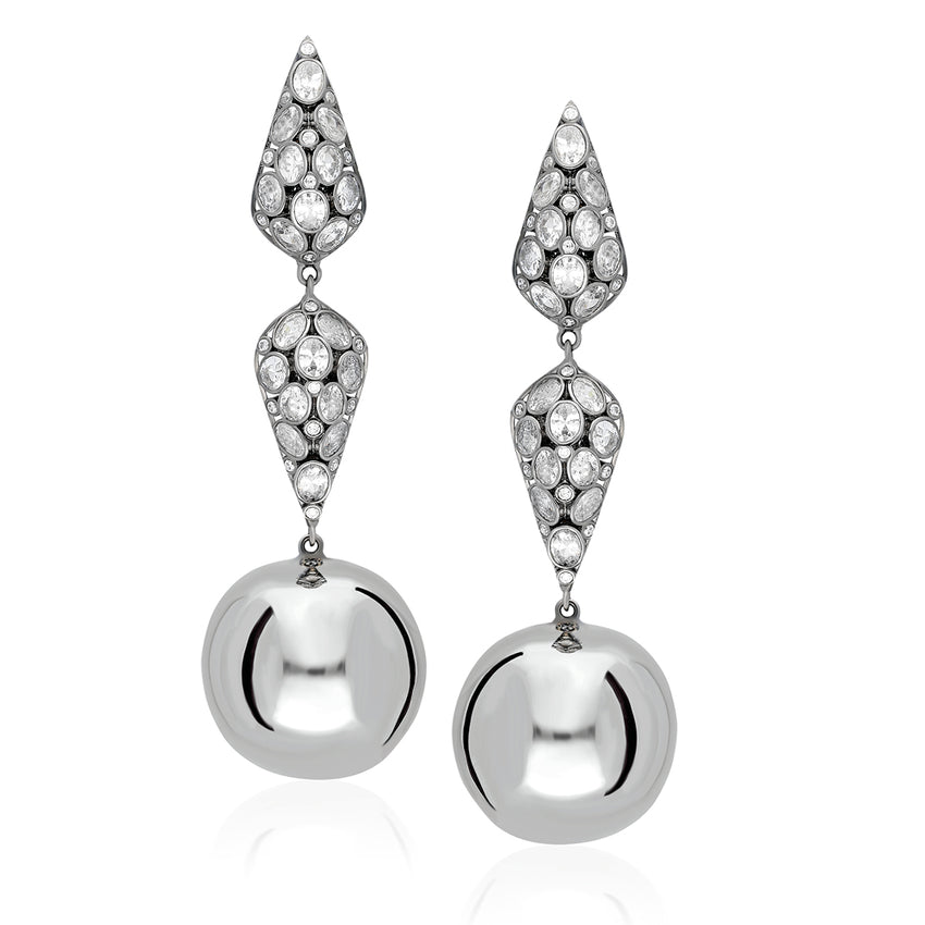 statement sterling silver earnings with a hanging round ball.