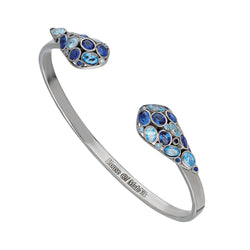 beautiful sterling silver, cuff bracelet adorned with sapphire blue and aqua blue cubic zirconia.