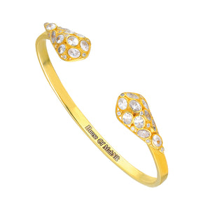 beautiful sterling silver, cuff bracelet in gold plated with high quality cubic zirconia.