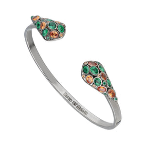 beautiful sterling silver, cuff bracelet adorned with green and brown cubic zirconia.