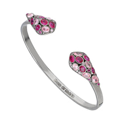 beautiful sterling silver, cuff bracelet adorned with pink and red cubic zirconia.