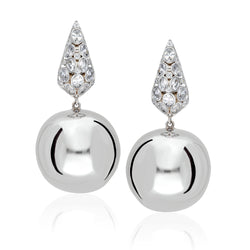 sterling silver earnings with a hanging round ball.