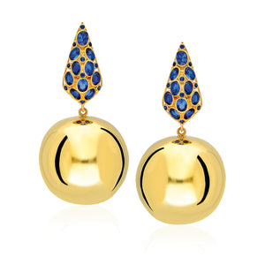 beautifully handcrafted bonbon earrings with Sapphire Blue Stones