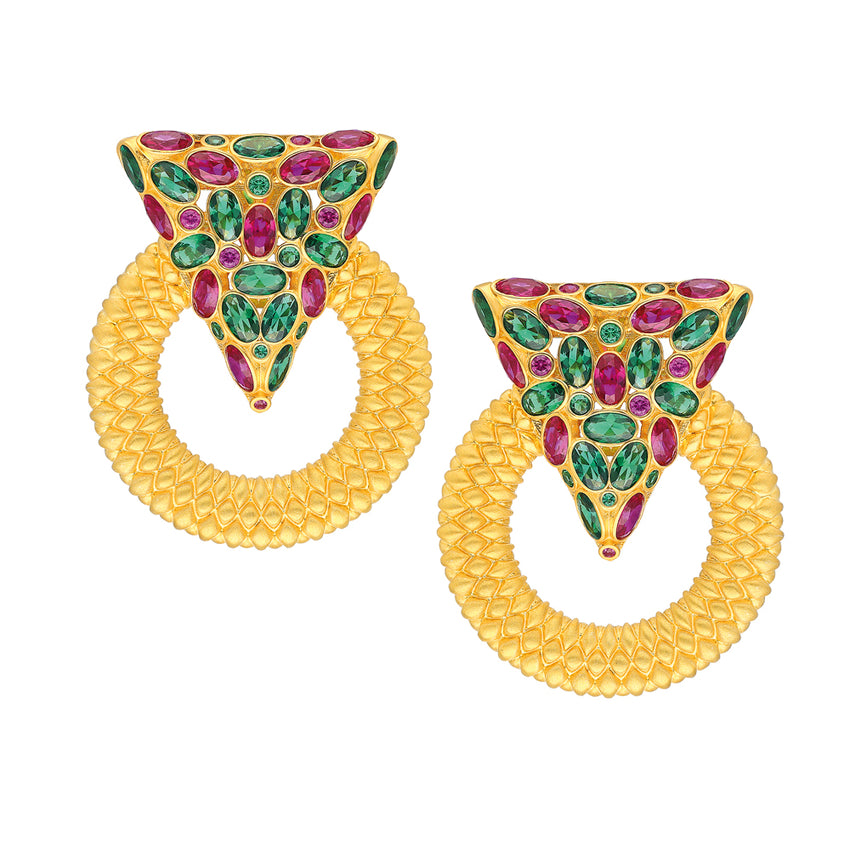 Casa Milla Inspired silver earrings in the 24K yellow gold plated, adorned with red and green zirconia.