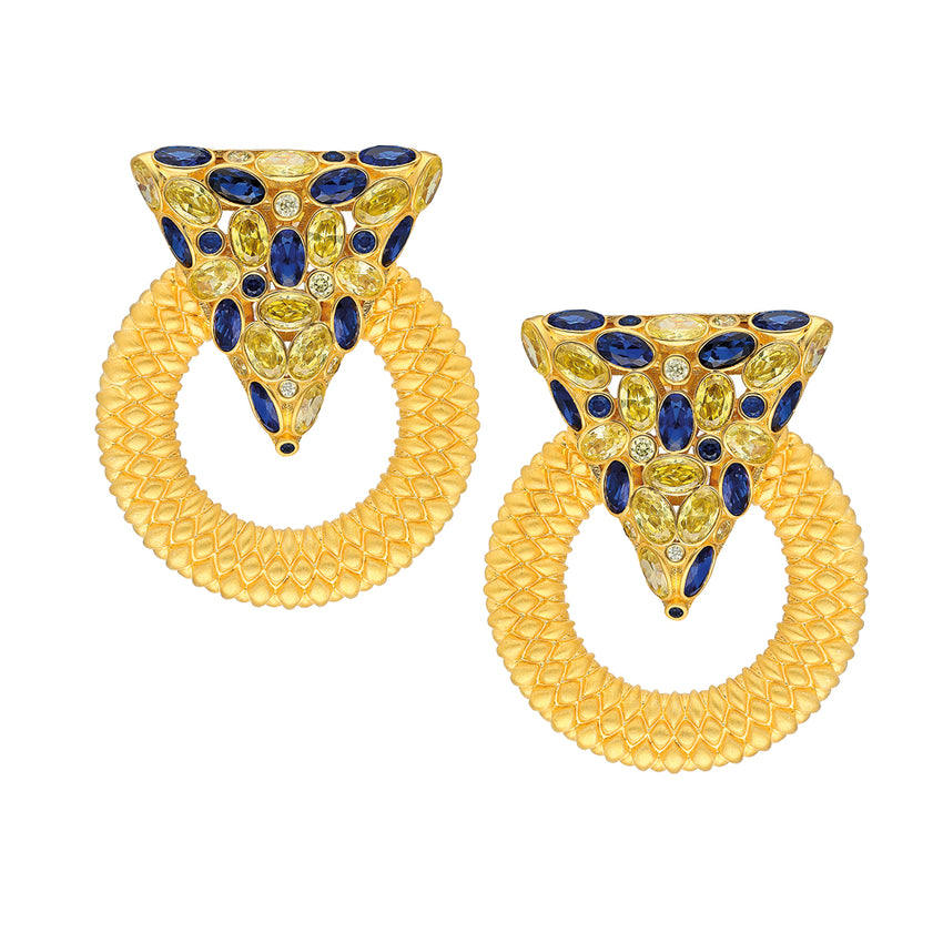 Casa Milla Inspired silver earrings in the 24K yellow gold plated, adorned with sapphire and yellow zirconia.