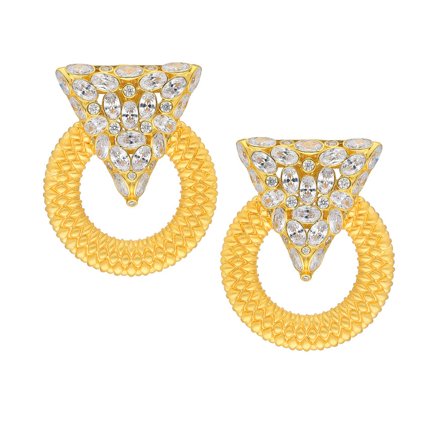 Casa Milla Inspired silver earrings in the 18K yellow gold plated.