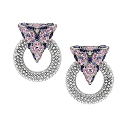 Casa Milla Inspired silver earrings in the 24K white gold plated, adorned with Pink and purple zirconia.