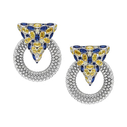 Casa Milla Inspired silver earrings in the 24K white gold plated, adorned with yellow and blue zirconia.