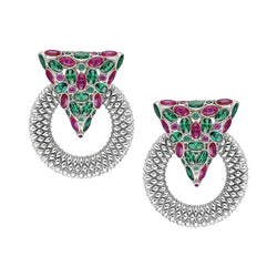 Casa Milla Inspired silver earrings in the 24K white gold plated, adorned with emerald and ruby color zirconia.