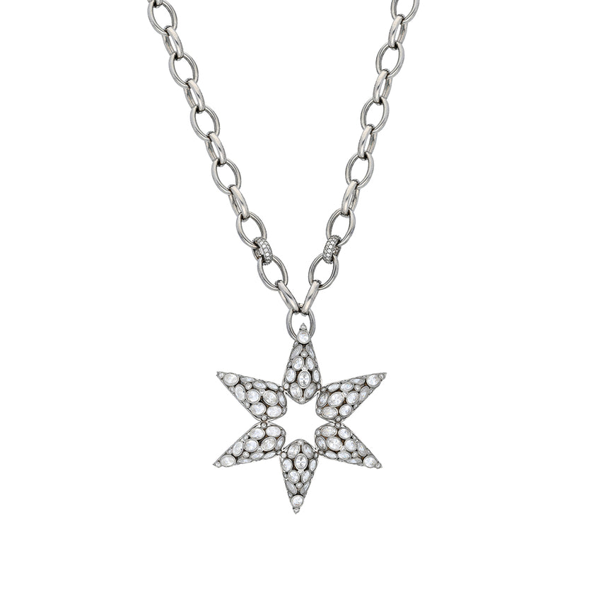statement sterling silver, star necklace with cubic zirconia.
