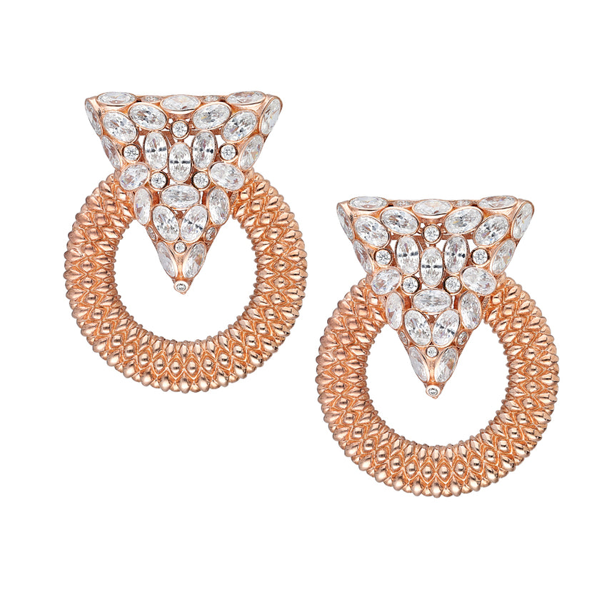 Casa Milla Inspired silver earrings in the 24K rose gold plated.