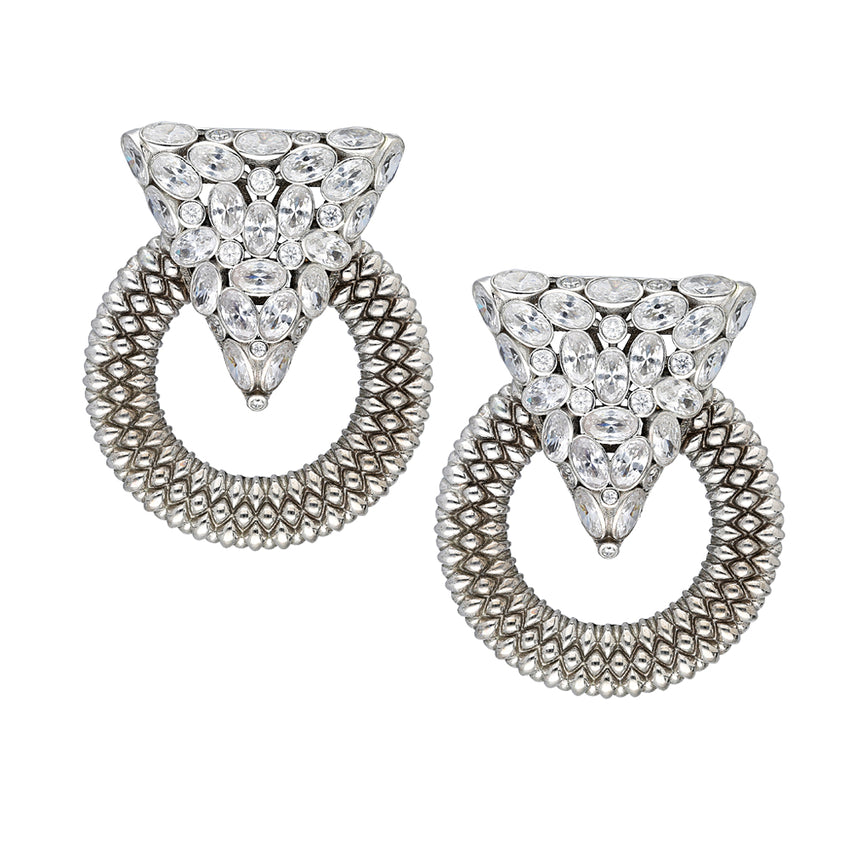 Casa Milla Inspired silver earrings in the 24K white gold plated.