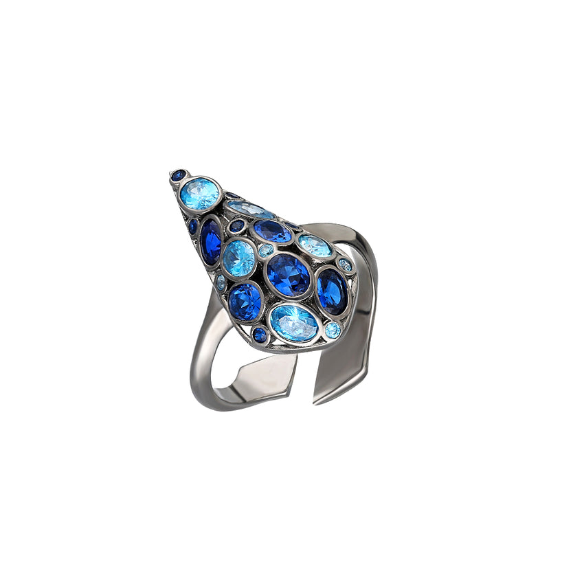 Sterling Silver, adjustable ring in Black Rhodium Plated with blue stones.