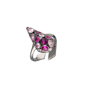 Sterling Silver, adjustable ring in black rhodium plated with red and pink cubic zirconia.