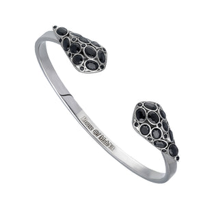 beautiful sterling silver, cuff bracelet adorned with black onyx stone.