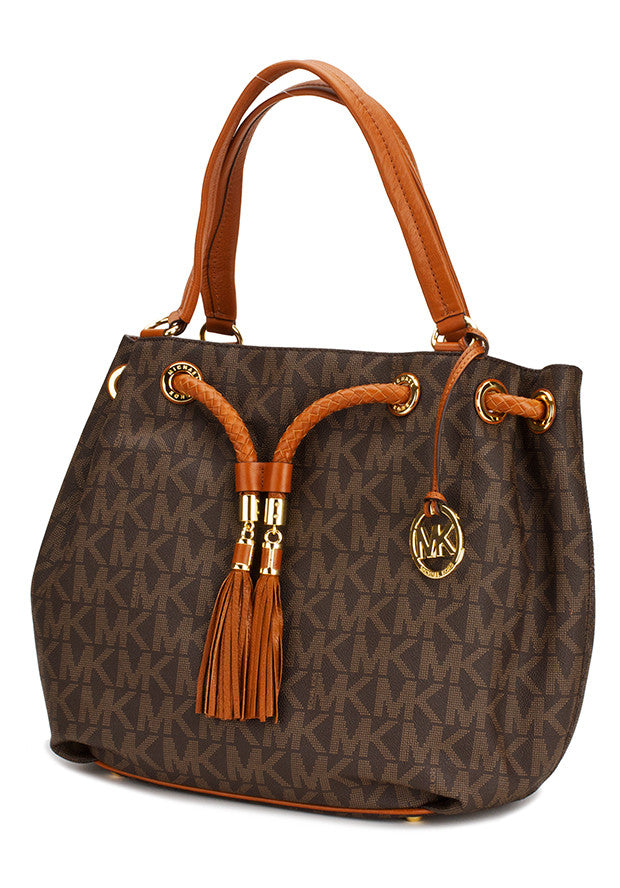 18aa8dfc06aa Michael Kors - Jet Set Signature Print Large Gathered Tote - Brown ...