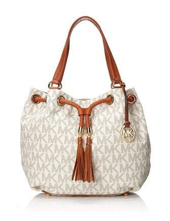 Michael Kors - Jet Set Signature Print Large Gathered Tote - Vanilla