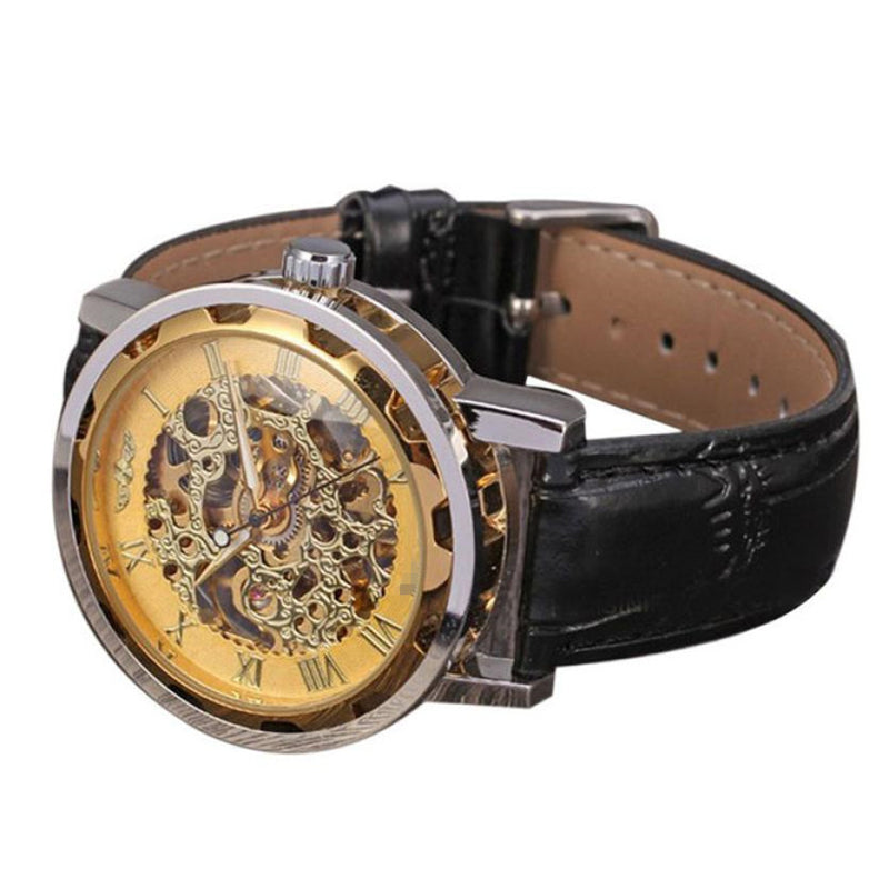 Men's Gold Dial Skeleton Mechanical Sport Army Wrist Watch