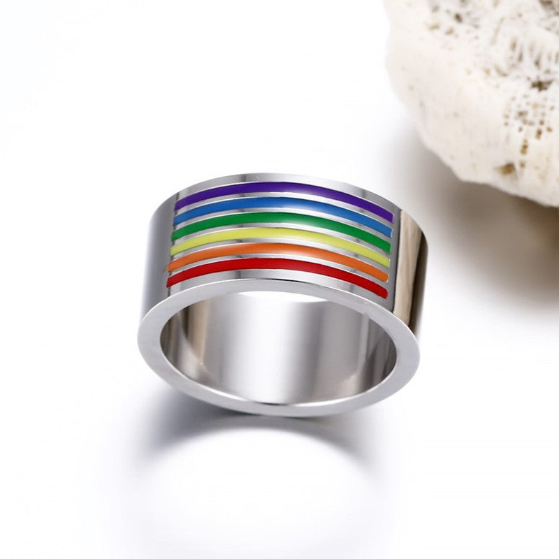 Unique Rainbow Design Stainless Steel Ring