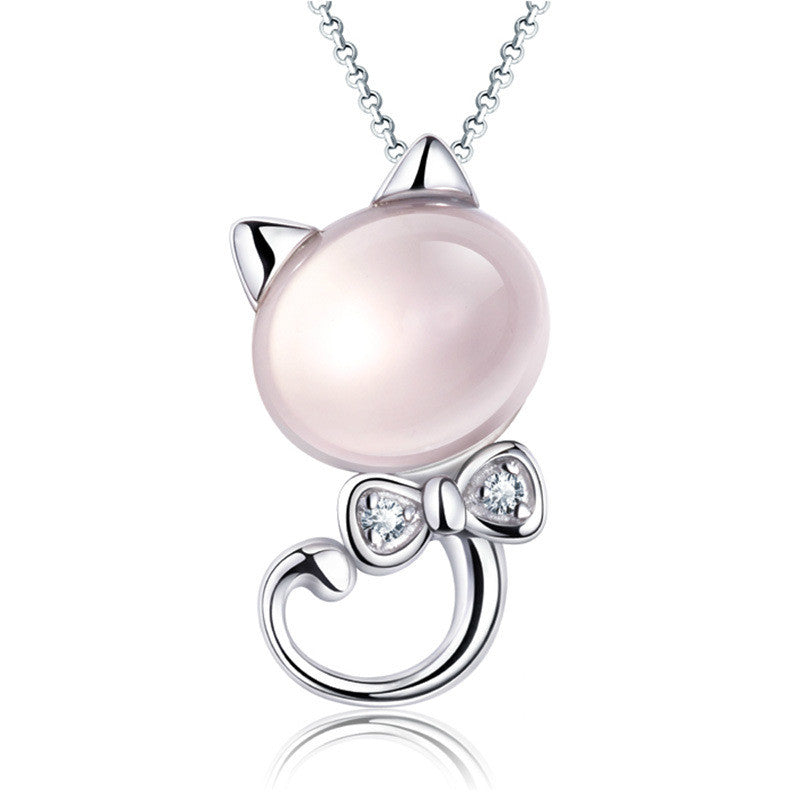 Pink Crystal Kitten Pendant Necklace