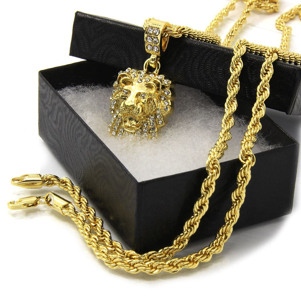 14k gold plated lion head pendant chain thegoldchest googleproductcategory 14k gold plated lion head pendant chain aloadofball Image collections