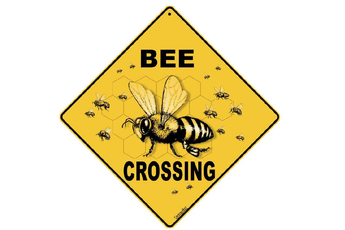 Metal Bee Crossing Sign
