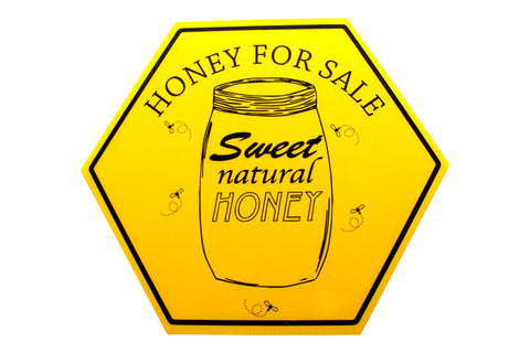 Honey Sale Sign - Yellow Hexagon