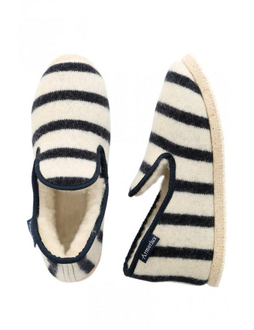 Armor Lux Wool Slippers: Nature/Navy
