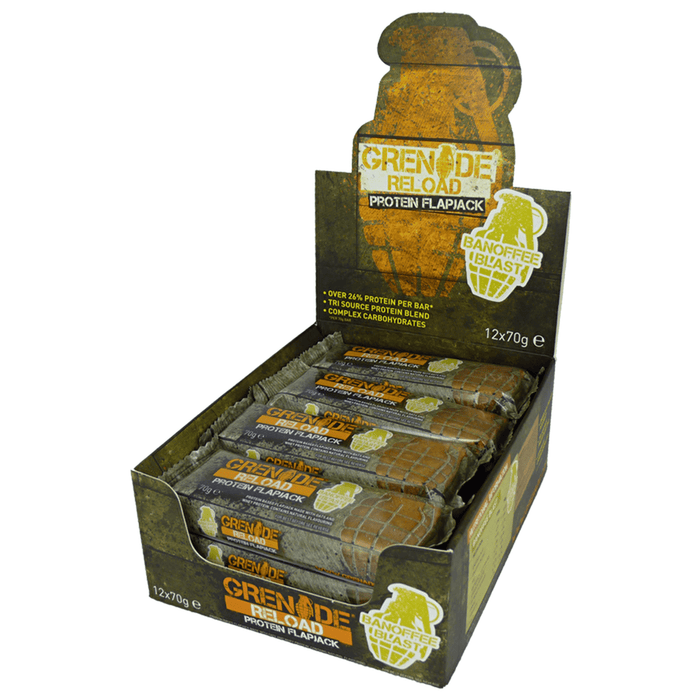 Grenade Grenade Reload Flapjacks 12x70g / Banoffee Blast Protein Bars The Good Life