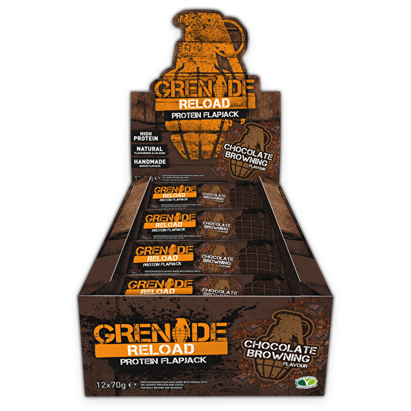 Grenade Grenade Reload Flapjacks 12x70g / Chocolate Browning Protein Bars The Good Life