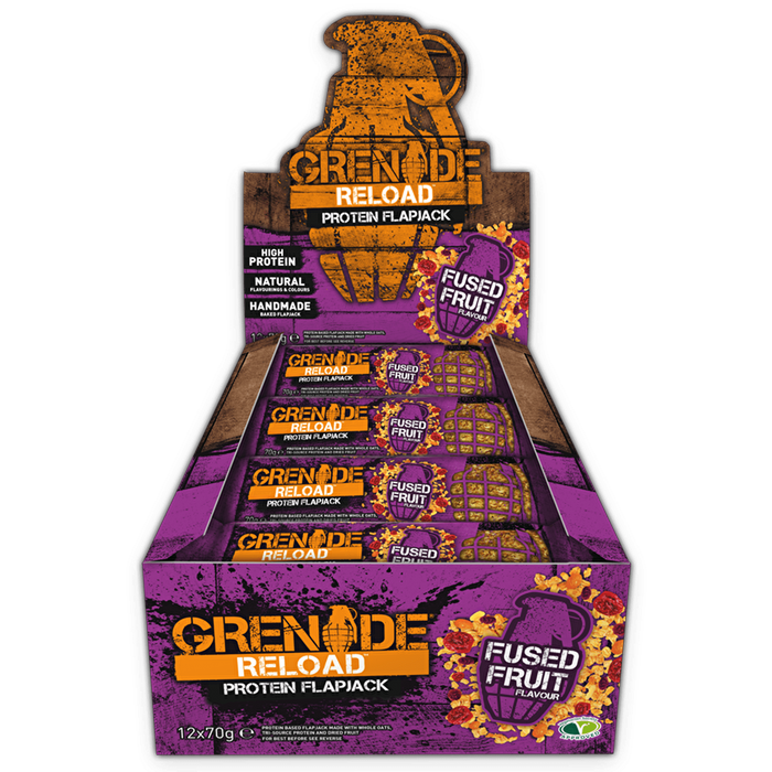 Grenade Grenade Reload Flapjacks 12x70g / Fused Fruit Protein Bars The Good Life