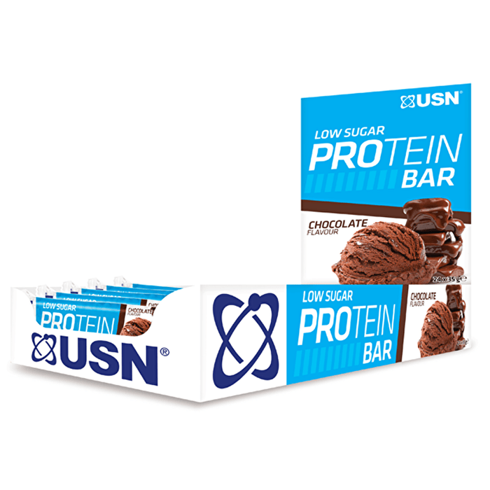 USN USN Low Sugar Protein Bar 24x35g / Chocolate Protein Bars The Good Life