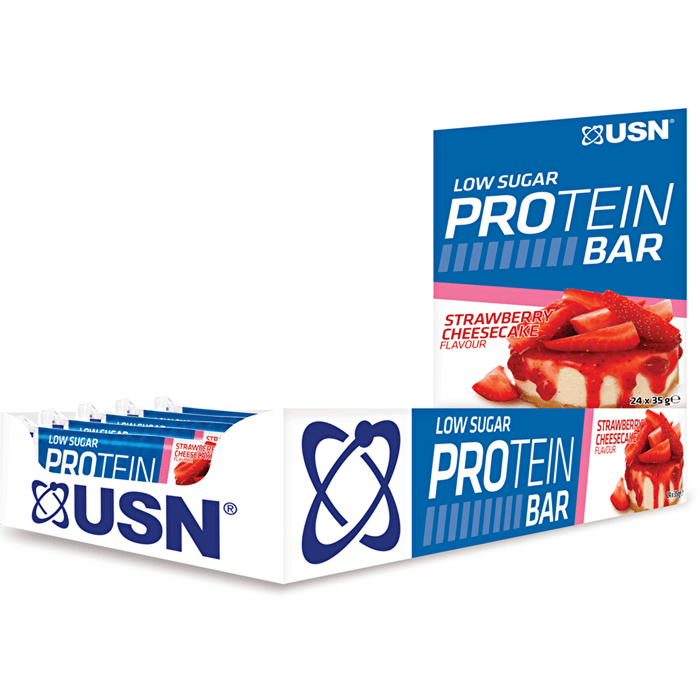 USN USN Low Sugar Protein Bar 24x35g / Strawberry Cheesecake Protein Bars The Good Life