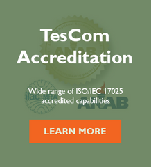 TesCom ISO 17025 accreditation certificate