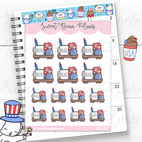 4th of July Coffee Tray Vinyl Planner Stickers | Ddl 002