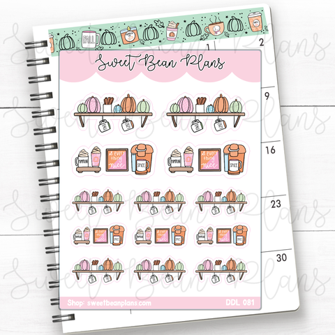 Pumpkin Coffee Doodles Planner Stickers | Ddl 081