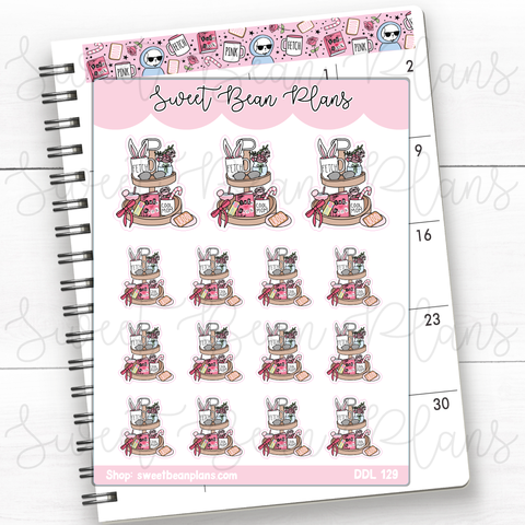 Sparkling Water Doodles Hand Drawn Planner Stickers | Ddl 129