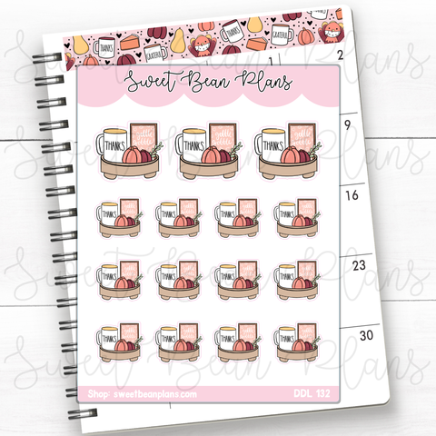 Breakfast Pancakes Doodles Hand Drawn Planner Stickers | Ddl 132