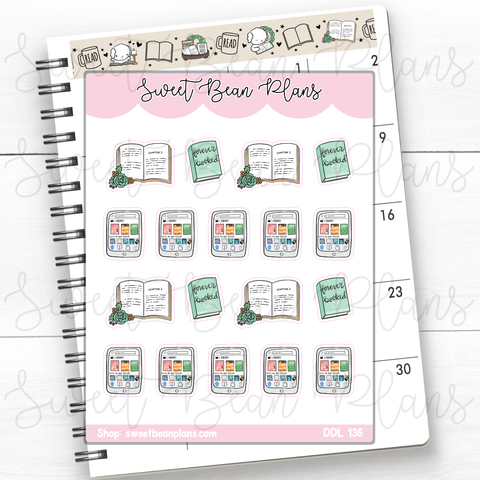 Burger and Fries Doodles Hand Drawn Planner Stickers | Ddl 136