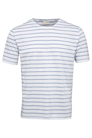 KnowledgeCotton Apparel Single jersey striped jaquard t-shirt placid blue
