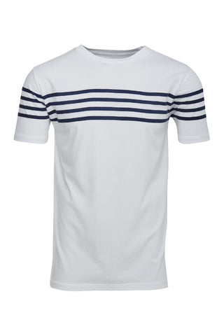 KnowledgeCotton Apparel Tee W/printed stripes bright white