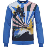 Sweat with big Crazy print Strong Blue