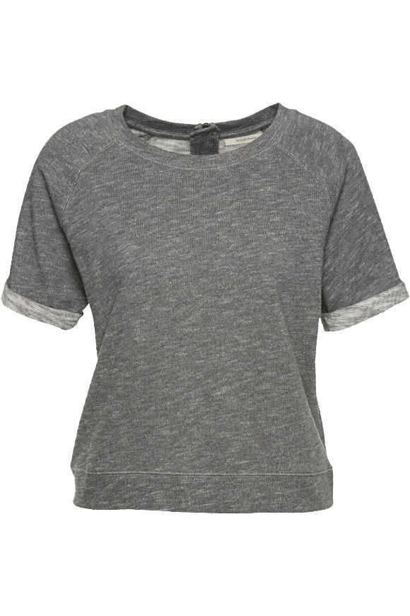 Wunderwerk Sweat crewneck melange 1/2 t-shirt slub grey