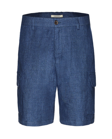 Cargo short linen male dark blue melange