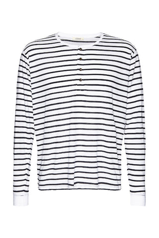 Wunderwerk Henley stripe male longsleeve dark blue/white