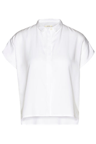 Tencel square blouse cropped White