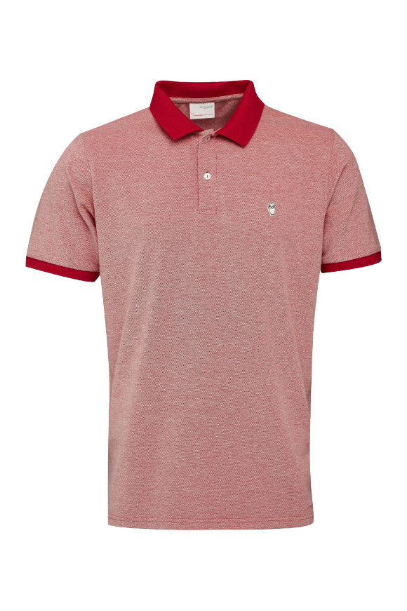KnowledgeCotton Apparel Two colored polo pique high risk red