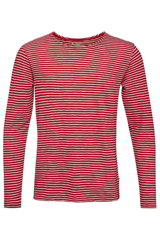 KnowledgeCotton Apparel Yarndyed striped indigo longsleeve t-shirt high risk red