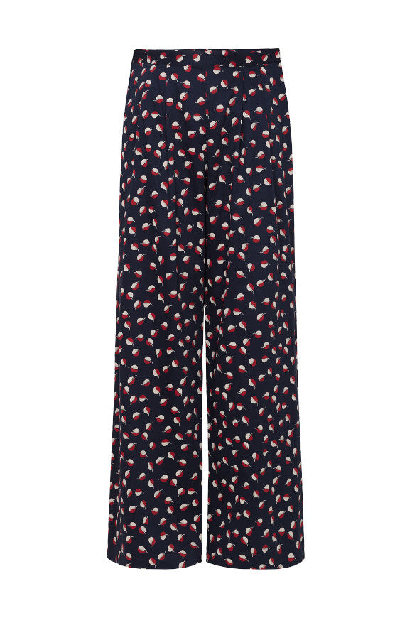 V&A Seed print wide leg trousers Navy